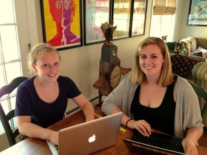 Company B's other intern, Talia, and myself at our work stations!